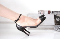 Туфли на высоком каблуке New Style Lady's High Heel Transparent Dress Shoes Women Pointed Toe Sandals Black And Retail
