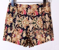 Женские шорты 2012 Summer retro high waisted shorts fashion folk style printed shorts hot pants EF12014