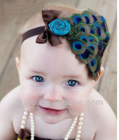 De lujo hermosa pluma de pavo real diadema para bebés al por mayor