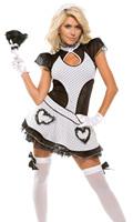 Женский эротический костюм Ladies 3 Piece Sexy Servant Heart Buttons Apron and Collar M8179
