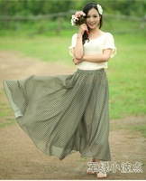 2012 new high quality women's fashion Hepburn style dot printed chiffon long skirt /super sweep,6 colors freeshipping