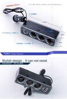 Кабели, переходники и розетки для авто M10183CL Discount USB 3 way Car Cigarette Lighter Socket Splitter Charger
