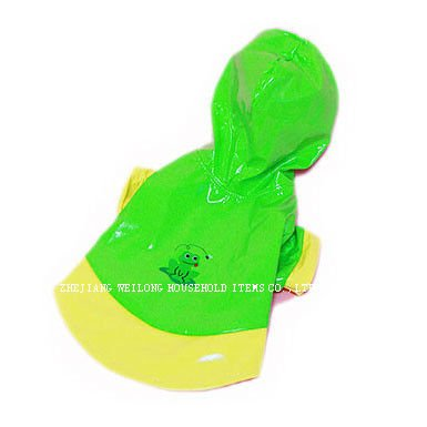green pvc pet raincoat/dog raincoat