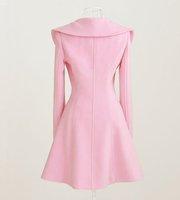 Sweet princess style!2012 New Arrival EUR pink slim turn-down ruffles collar wool coats/ women outerwear M-XXL,free shipping