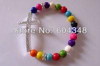 Браслет из бисера 12PCS Mixed Color Howlite Turquoise Rhinestone Spacers Crystal Cross Sideways Connector Bracelets Honesty Shamballa Bracelet