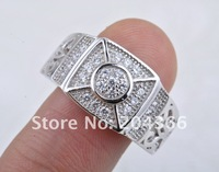 BJ29 The Charming Princess Cut Zircon Jewelry Ring Micro Pave 26 pieces Russian CZ 925 sterling silver ring size8,9,10