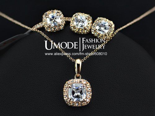 18K Real Gold Plated Princess Cut Zircon Wedding Ring Surrounded by Swarovski Crystals FREE SHIPPING!(Umode JR0014A) IT