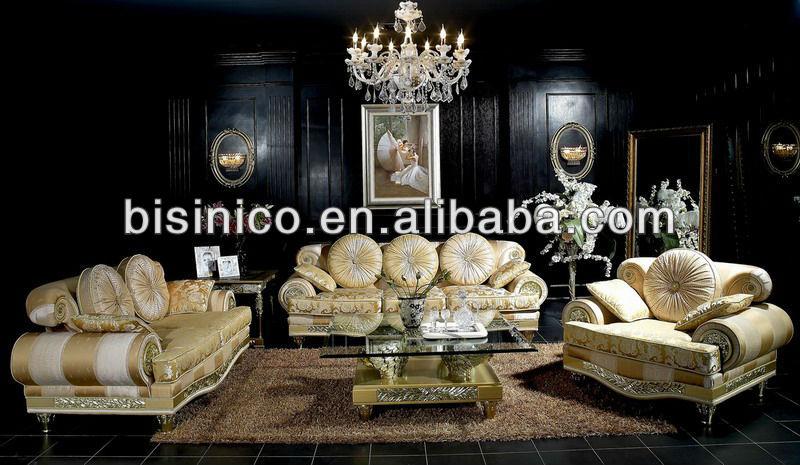Elegant Living Room Royal Design Fabric Sofa Set Top Quality Italian