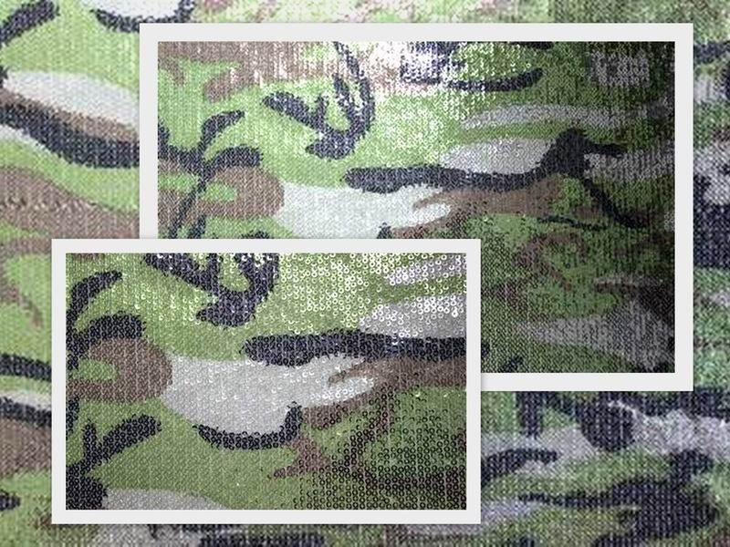 camouflage color sequin embroidery fabric