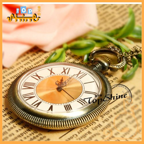 Vintage Classic Steampunk Pocket Watch Clock In Roman Number D00907o