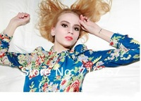 Женские блузки и Рубашки Price! Elegant Fashion Europe Style Women's Ladies Casual Flower Pattern Long Sleeve Blouse Shirt