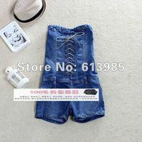 Женский джинсовый комбинезон 2012 Summer New Retro Lacing Up Wrapped Denim Jumpsuits Trendy Pants Slim Women Jeans120909#3