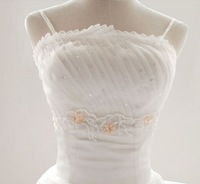 64 Free shipping 2013 newest women chic sexy embroidery draped beadings spaghetti straps floor length wedding dresses
