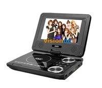 черный портативные поворотные 7» dvd проигрыватель divx с аналогового ТВ sd usb слот dropshipping