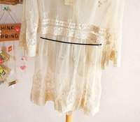Женское платье Sexy Women Sweet Sheer Lace Waist Slim Midi Pattern T-Shirt Dress Cardigan Coat