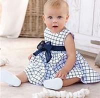 Платье для девочек 2013 5pcs/lot baby plaid tank dress girls sweet bow sleeveless cotton dress summer clothing