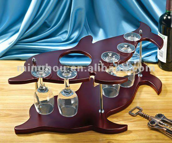 curved wooden wine holder with wine glass rack