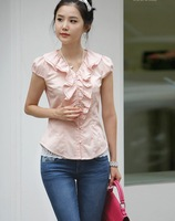 2012 NEW ARRIVAL Unique Lotus leaf collar design fashion blouse, Summer short sleeve blouse , size/S,M,L Y035S-W228