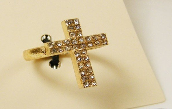 Free shipping 2012 Promotional price fashion Crystal Cross Rings fashion Jewelry Women/Girl/lady  finger ring