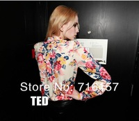 Женские блузки и Рубашки Price! Elegant Fashion Europe Style Women's Ladies Casual Flower Pattern Long Sleeve Blouse Shirt