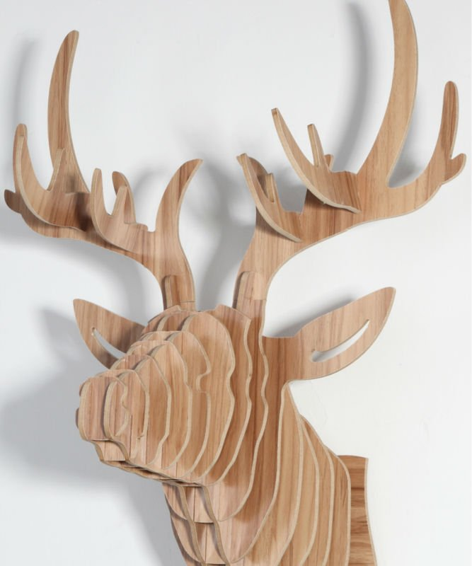 Deer head d coration murale bricolage en bois int rieur for Tete de cerf murale