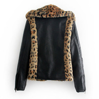 Женская куртка Hot Sale New Womens European Fashion Leopard Faux Fur PU Leather Sleeve Coat Jacket 5331