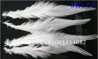 Перья Hot sale 100pcs/lot white short 9-15cm ROOSTER SADDLE CAPE CRAFT FEATHER for sinamay hat/party mask