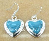 Серьги висячие 925 silver plated earrings, silver jewelry, classic&charm turquoise earrings for lovers&christmas gift E175