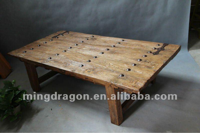 Chinois meubles anciens en bois de pin shanxi bois naturel - Table basse qui se transforme en table haute ...