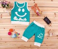 Комплект одежды для девочек boys smile pattern vest suits, polo sets, baby boys summer wear.4 colors, .3 sets/lot