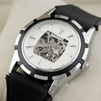 Наручные часы Deluxe AUTO Mechanical Mens Watch Sports Wristwatch Rubber Band Xmas Gift Ship! Clock