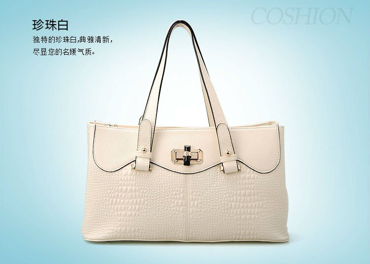 First laye cowhide women bag with crocodile embossing patterns