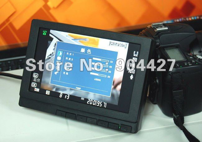 "7"" LCD mornitor for Canon 5D Mark II display extending with HDMI/VGA/AV Hot-Shoe Battery 5D2 DSLR Samsung LED Outdoor viewable"