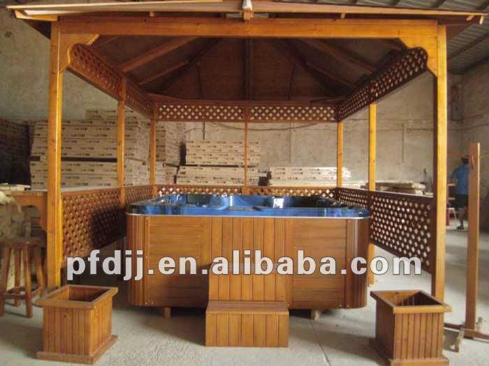 Ats 01 plein air antisepsie de gazebo en bois pour jacuzzi for Spa exterieur couvert