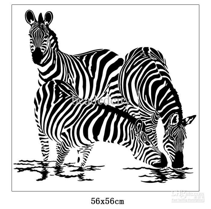 Zebra Silhouette [funlife]-56x56cm(22x22in) vinyl removable 3 zebra ...