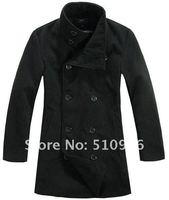 Мужской тренч 2012 South Korean Men's Double Platoon Overcoat Fashion Dust Coat Cotton Jacket black gray Colors Size M L XL XXL