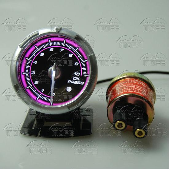60MM Pink Blue LED Backlight Sensor + Stepping Motor Defi ADVANCE C2 Oil Pressure Press Gauge Meter 1