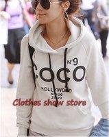 2012 Free Shipping Korea Women's  hooded Sweater coat/Fashion COCO Hooded sweater sweatshirt