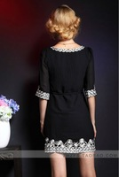2012 OEM fashion CPAM free shipping Summer style  White embroidery comfortable o-neck blackhigh class elegant chiffon DressD3804