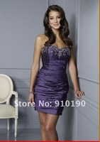 Free Shipping Purple Short Cocktail dress/Prom dress/ball gown/evening dress/Sz 4 6 8 10 12 14
