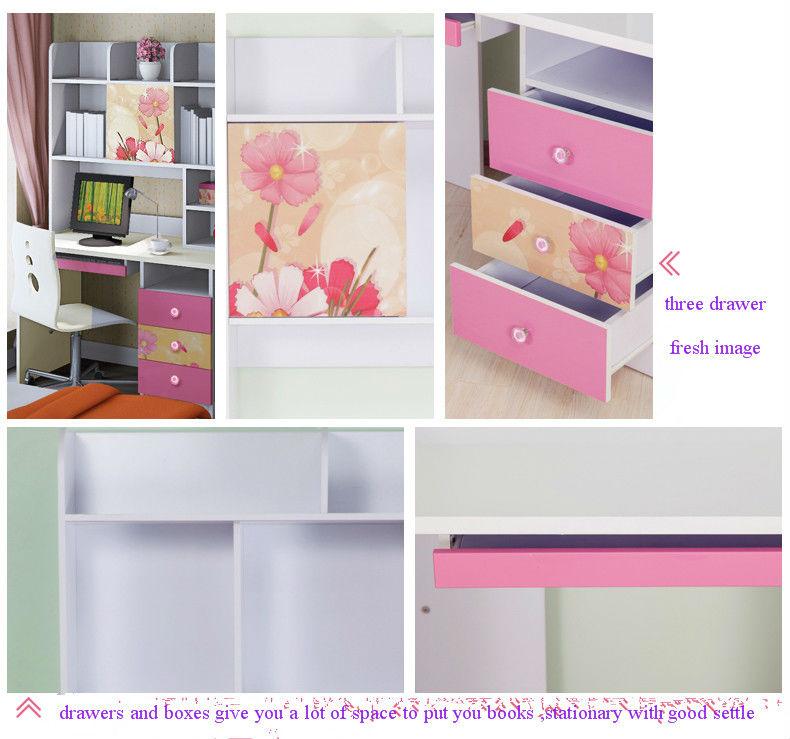 bonito color rosa mdf niños muebles de escritorio de la computadora