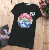 Футболка 2012 ladies' summer fashion t-shirt short sleeve tops women's t shirt korean casual letters tees cotton