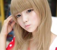 South Korea fashionable wig long straight hair neat bang lovely schoolgirl wig factory direct sale