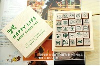 Печать NEW cute schoolbook stamp / with wooden box / 25 pcs/set
