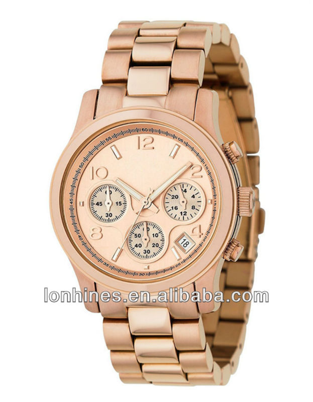 2013 fashion big size japan quartz movt stainless steel back water resistant boyfriend men heavy rose gold mk watch LH6086