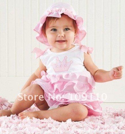 Babies Pink Dress Baby Girls Dress Hat Pink