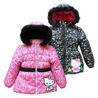 Пуховик для девочек Retail 2013 Fashion baby jacket Winter jackets for girls Kids Hello kitty 100% cotton plus velvet warm coat girls down coat