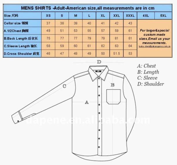 Mens Dress Shirt Size Chart Men Dress Shirt Size Guide