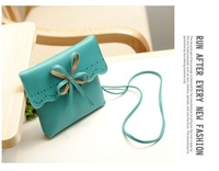 Маленькая сумочка Popular PU leather handbag/ summer sweet girl wallets/hollow out bag/ bow small Messenger Bags