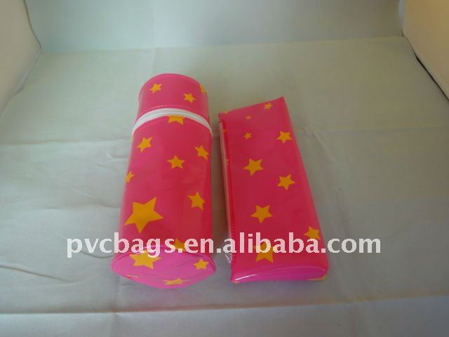 PVC pencil bag with coloful material